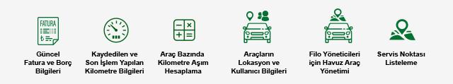 Günce Fatura ve Borç Bilgileri - Kilometre Bilgileri - Kilometre Aşım Hesaplama - Lokasyon ve Kullanıcı Bilgileri - Havuz Araç Yönetimi - Servis Noktası Listeleme